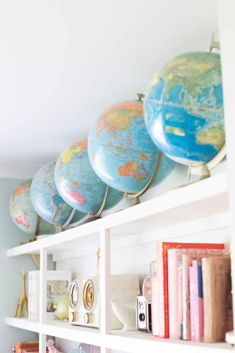 globes in a boys room