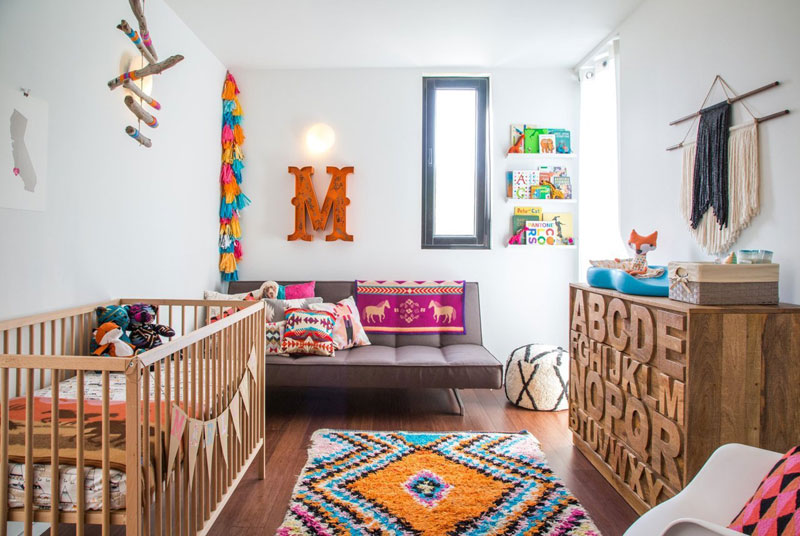 colourful boho babyroom