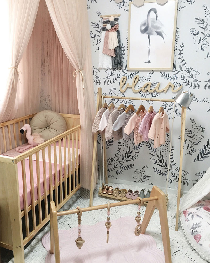 pink and black girl nursery