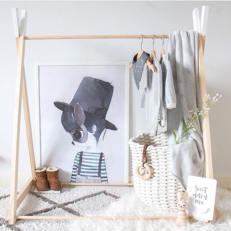 kids wooden clothing rack