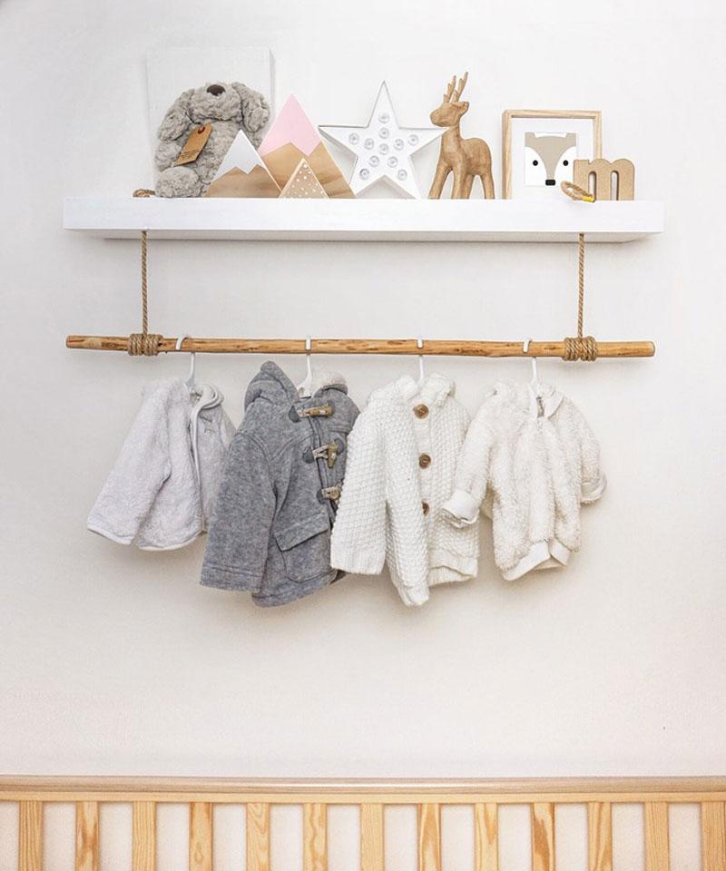 natural wooden shelf kids room