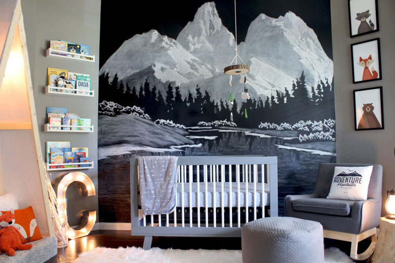 mountain wall mural for kid's room