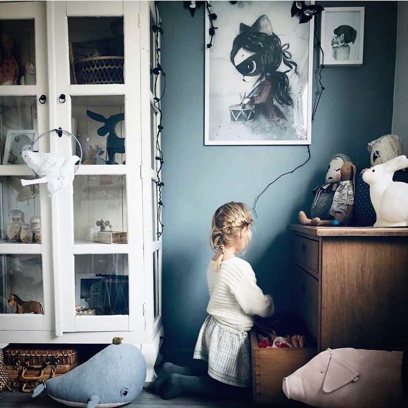 muted blue in kids room