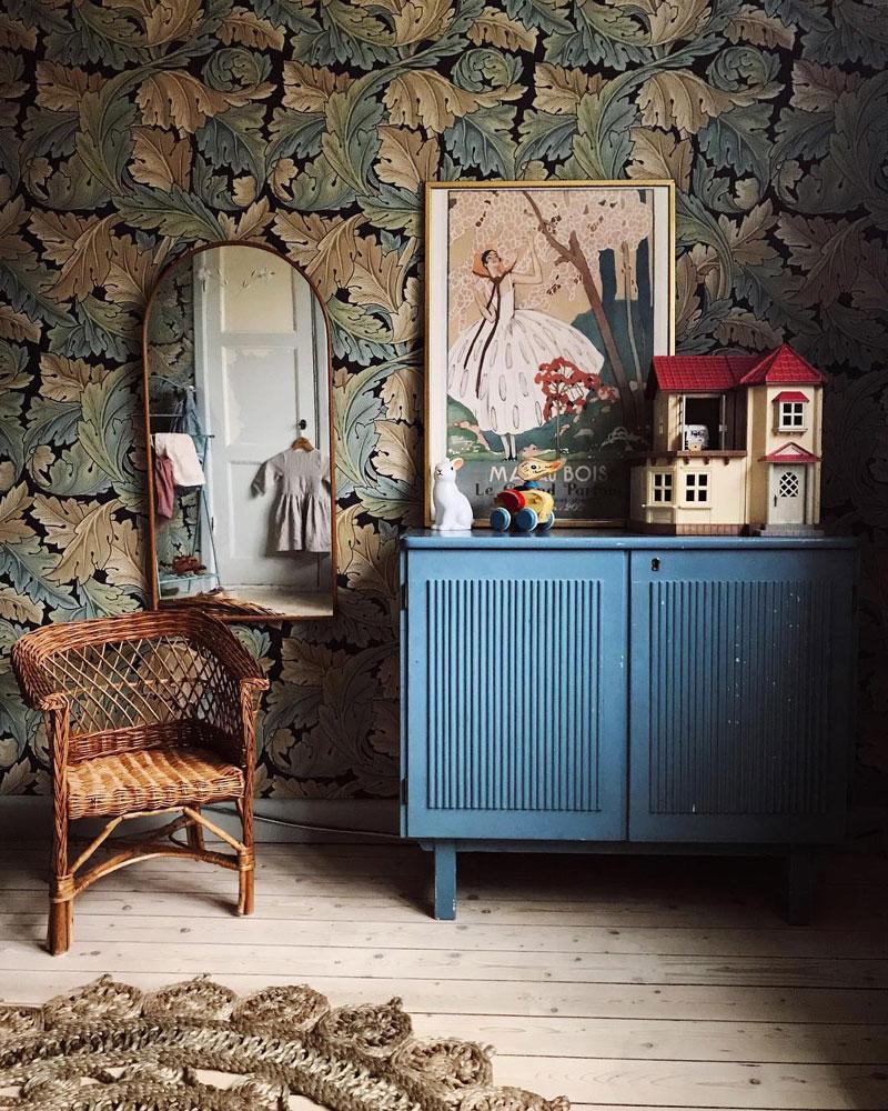 kids room with vintage furniture