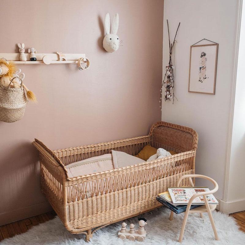 dusty pink wall in nursery