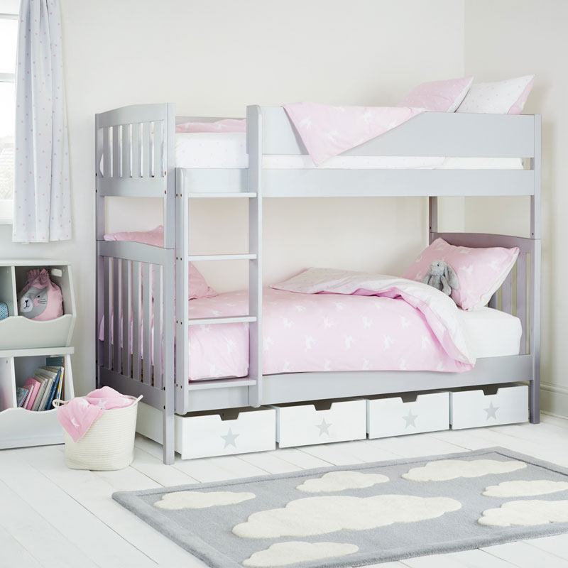 light grey bunk bed