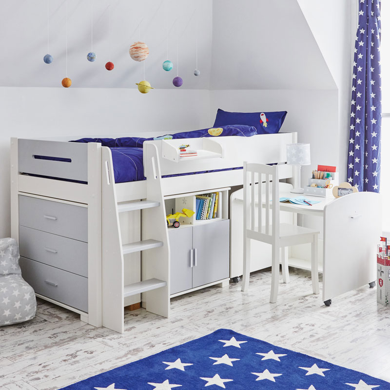 raised junior bed with storage underneath