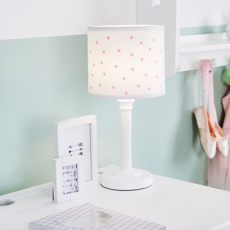 white and pink bedside lamp kids