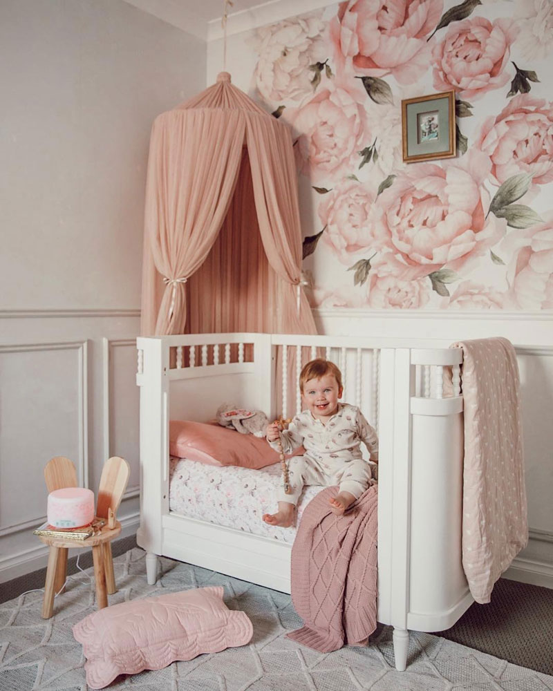 nursery with rose wall decals
