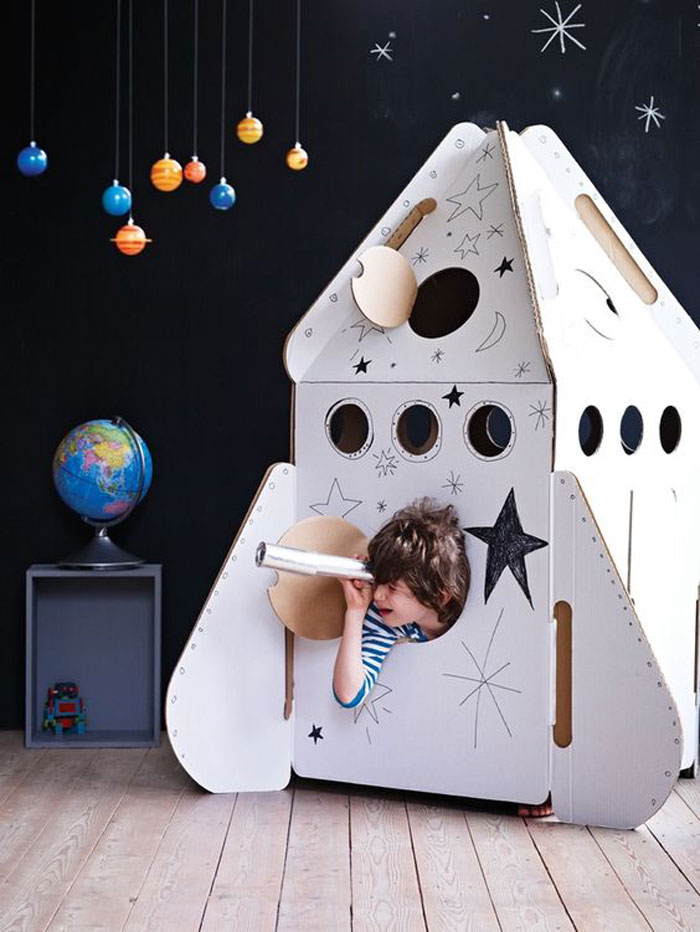 rocket ship cardboard toy