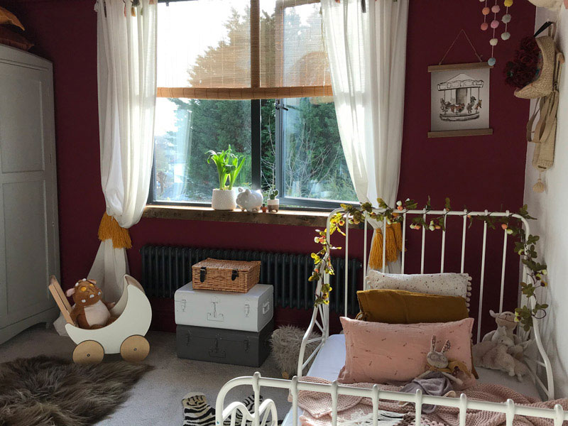 burgundy red girl's room