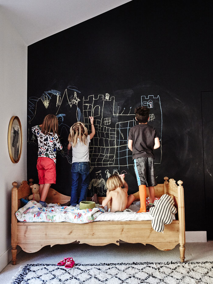 kids scribbling on the wall