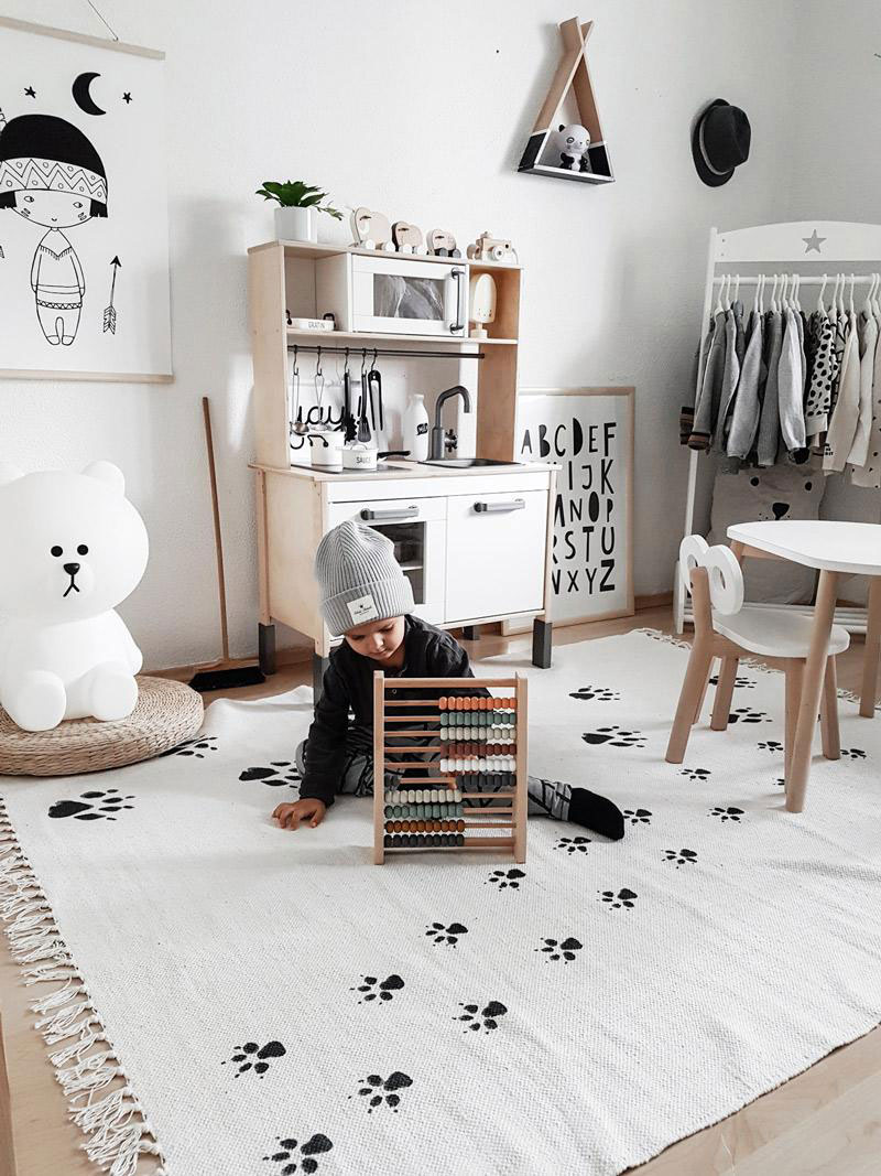monochrome playroom boy