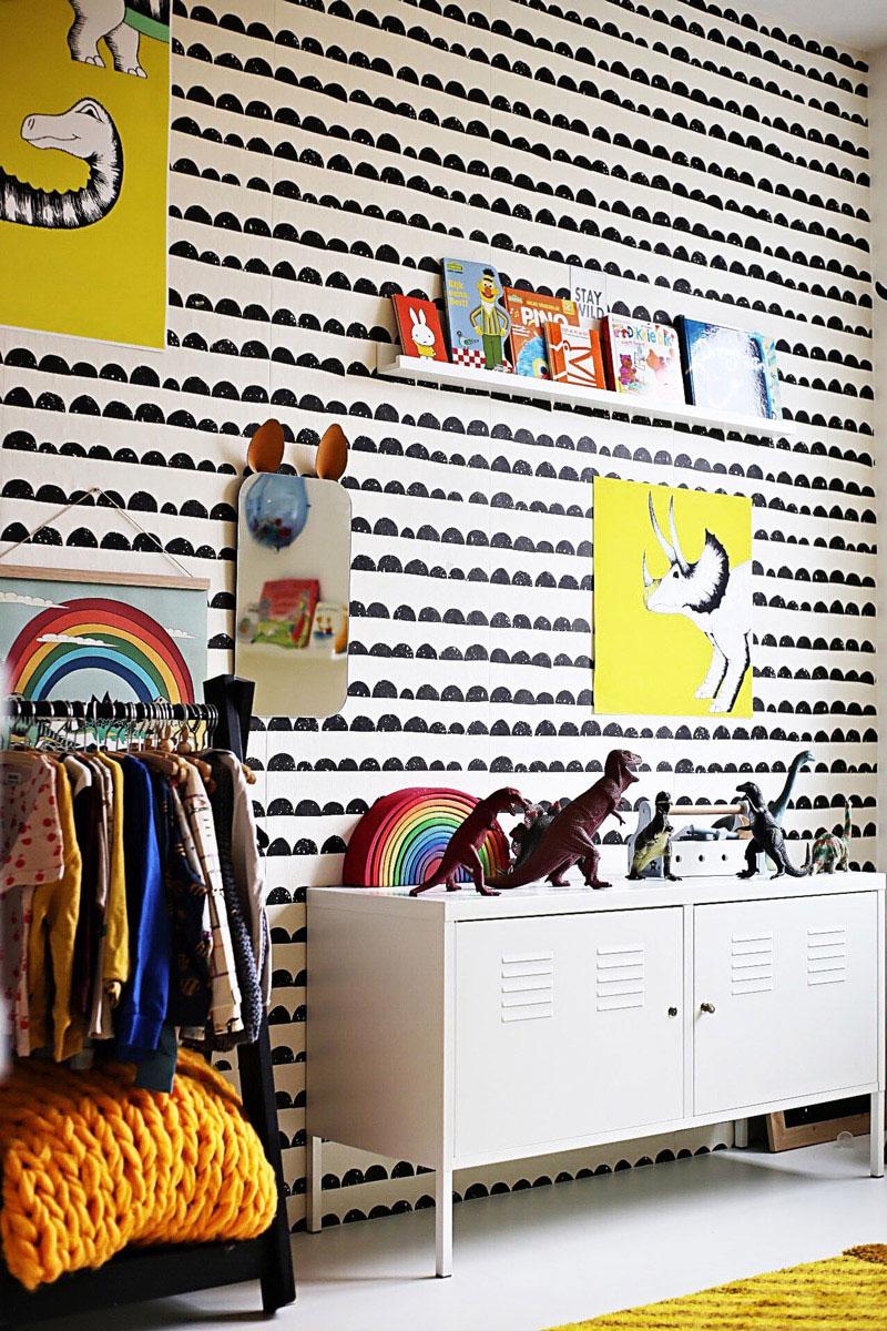 black yellow kid's room