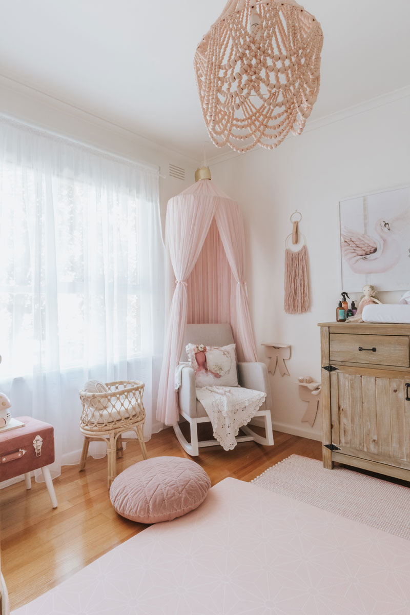 pink canopy for nursery