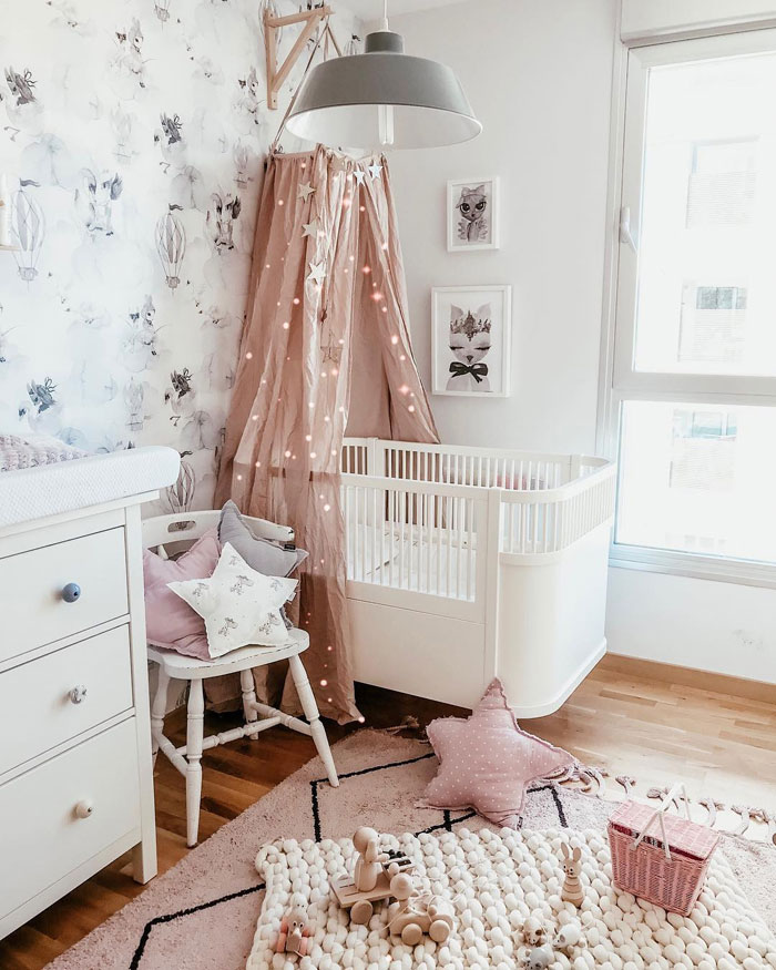 vintage pink canopy for nursery