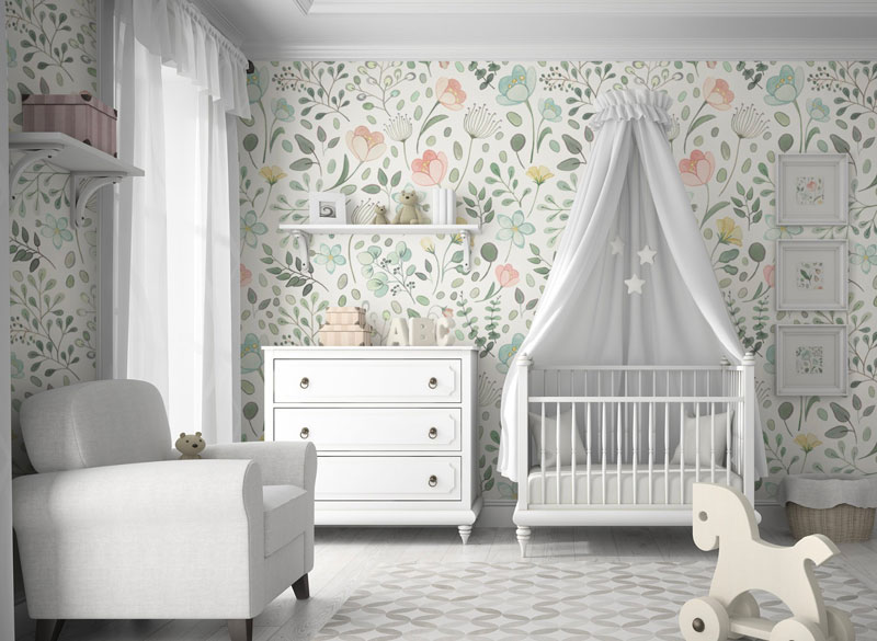 flowery nursery wallpaper