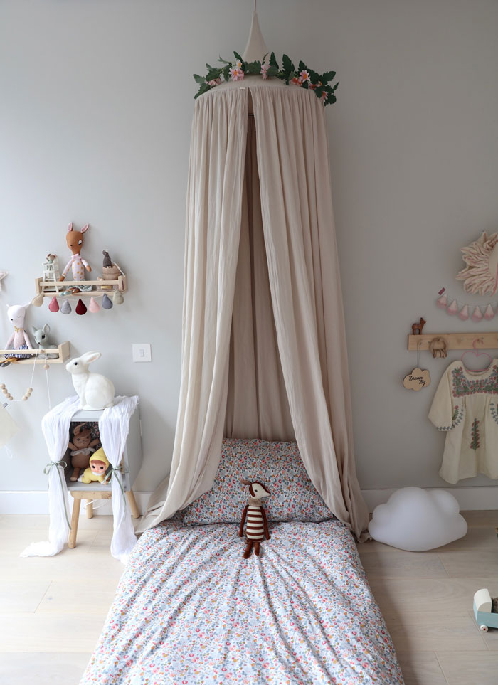 beige canopy for bed