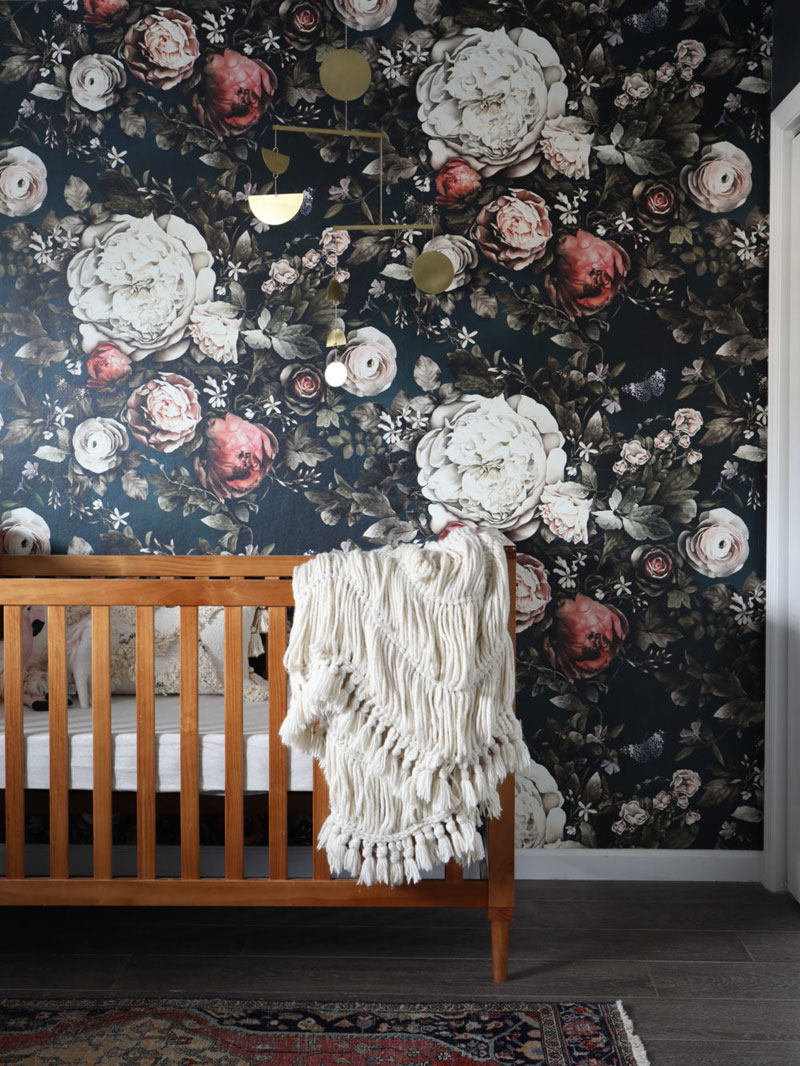 dark floral nursery wallpaper