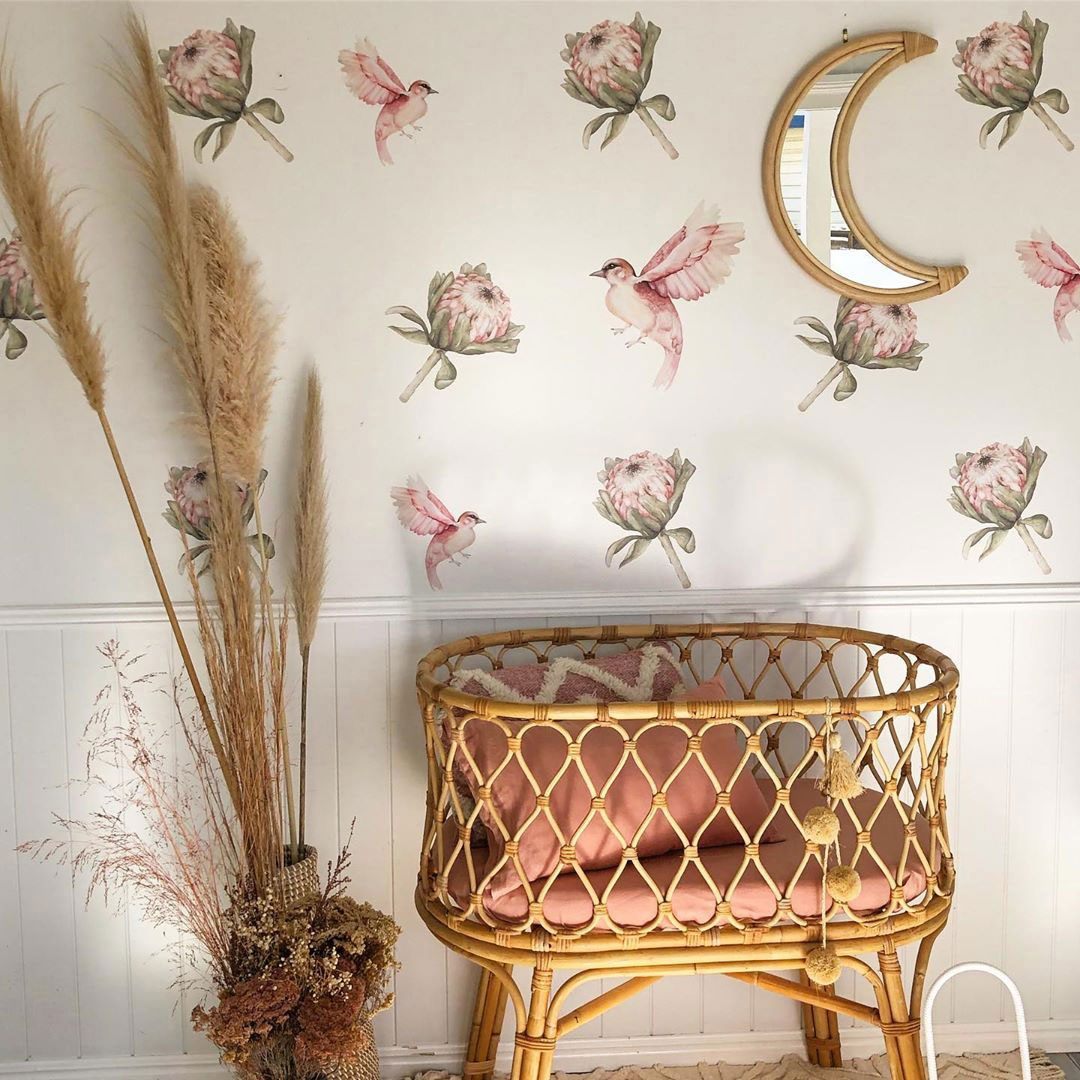 bird and flower decals