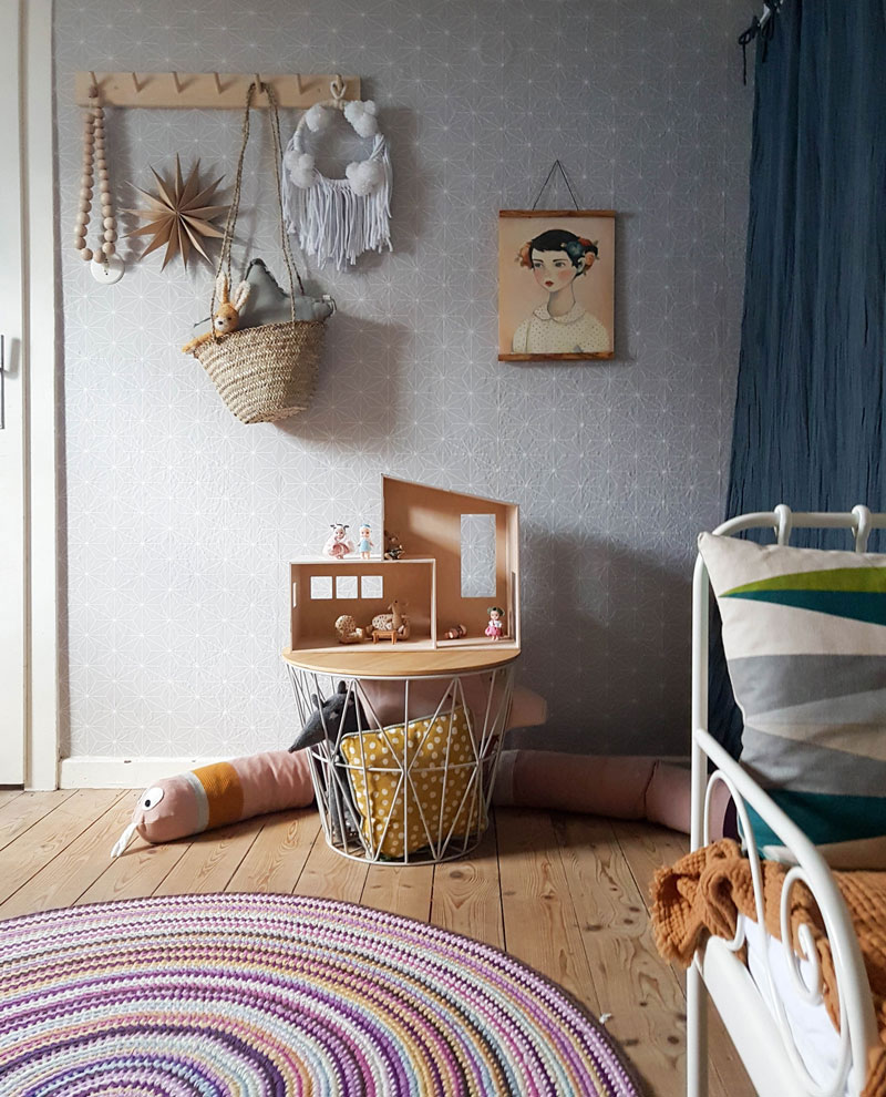 kids room with ikea wallpaper