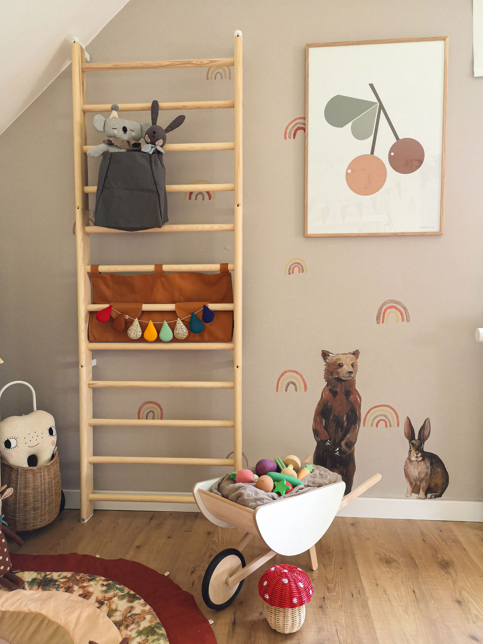 gymnastic wooden bars kid's room