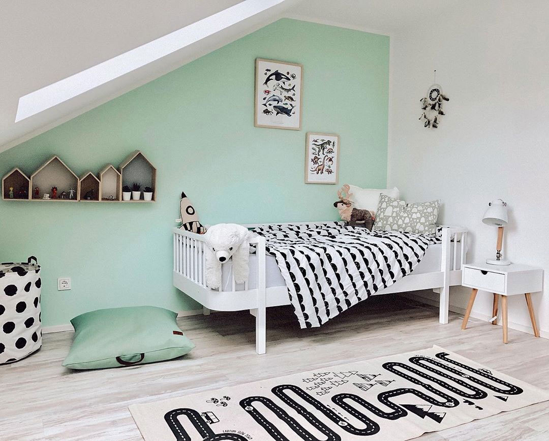 childrens room with mint green
