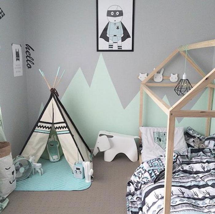 mint green black children's room