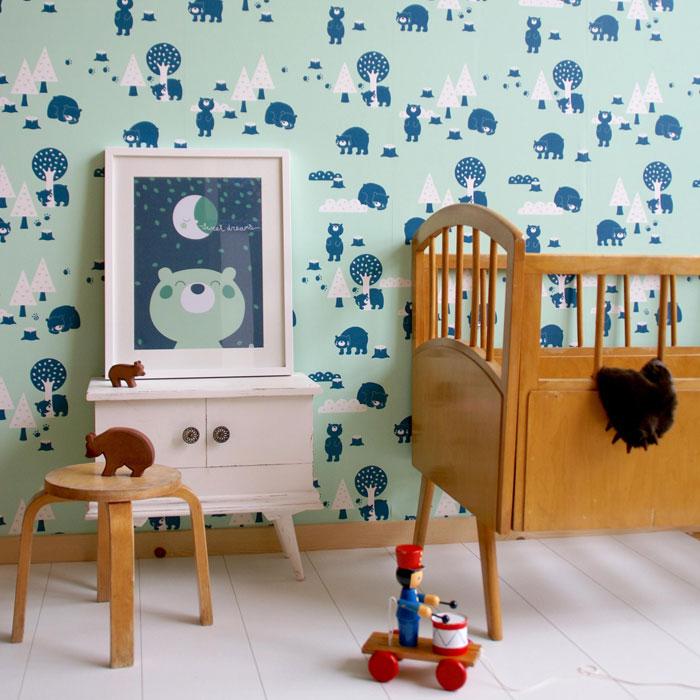 mint green navy blue kids wallpaper