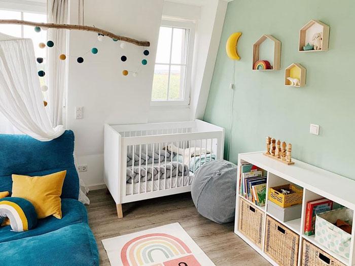 mint green yellow baby nursery
