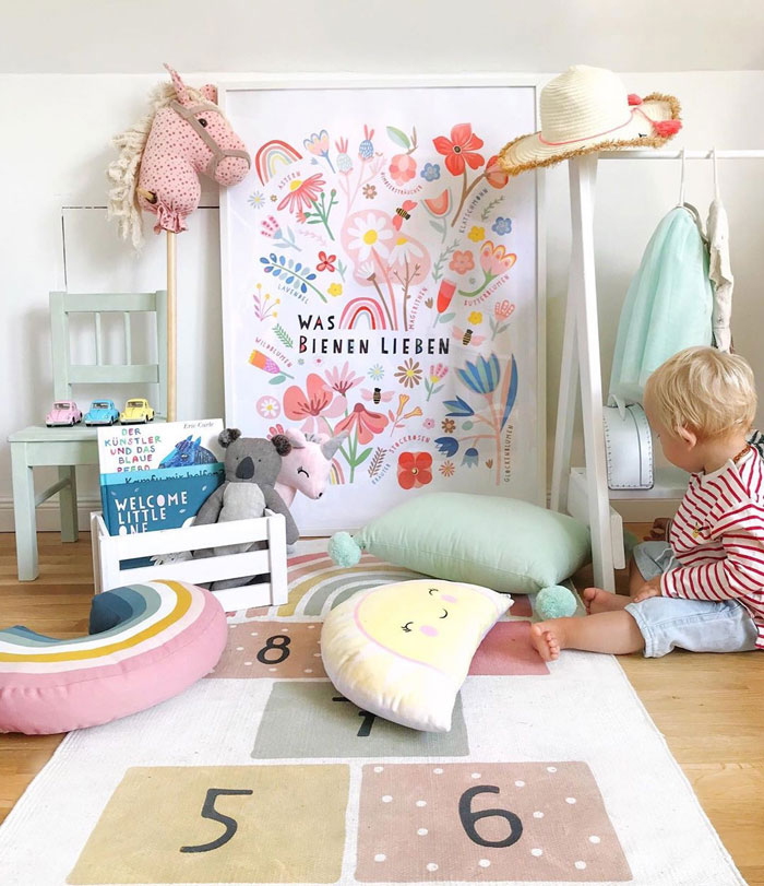 mint green pink red kid's room