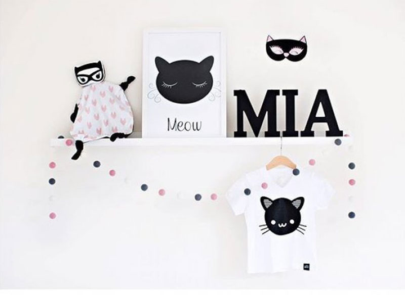 cat designs in childrens rooms