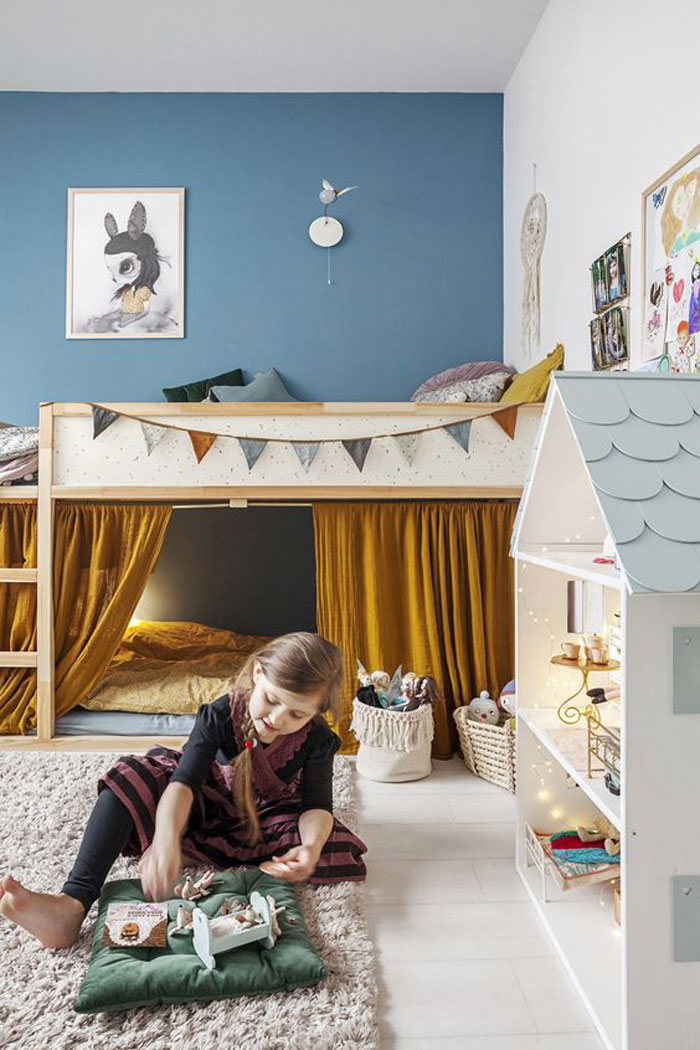 mustard and blue kids room