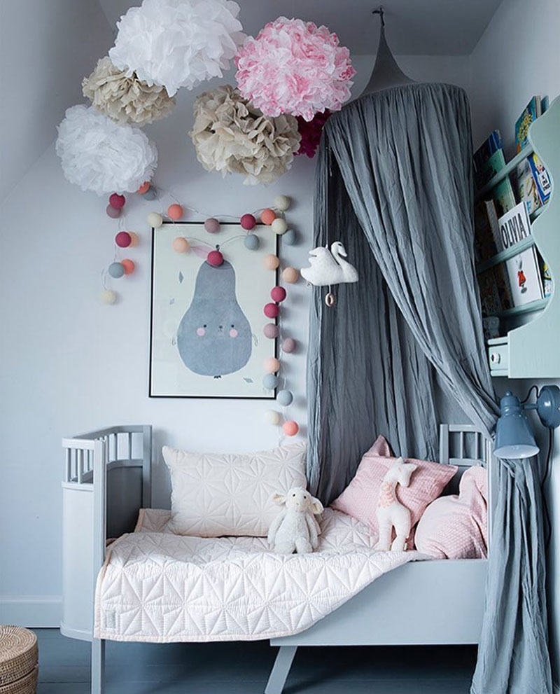 grey blue girls' rooms