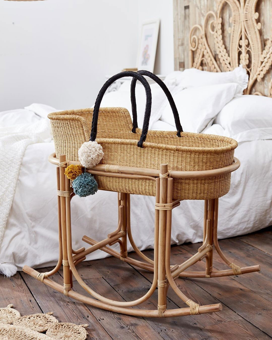 rattan moses basket stand