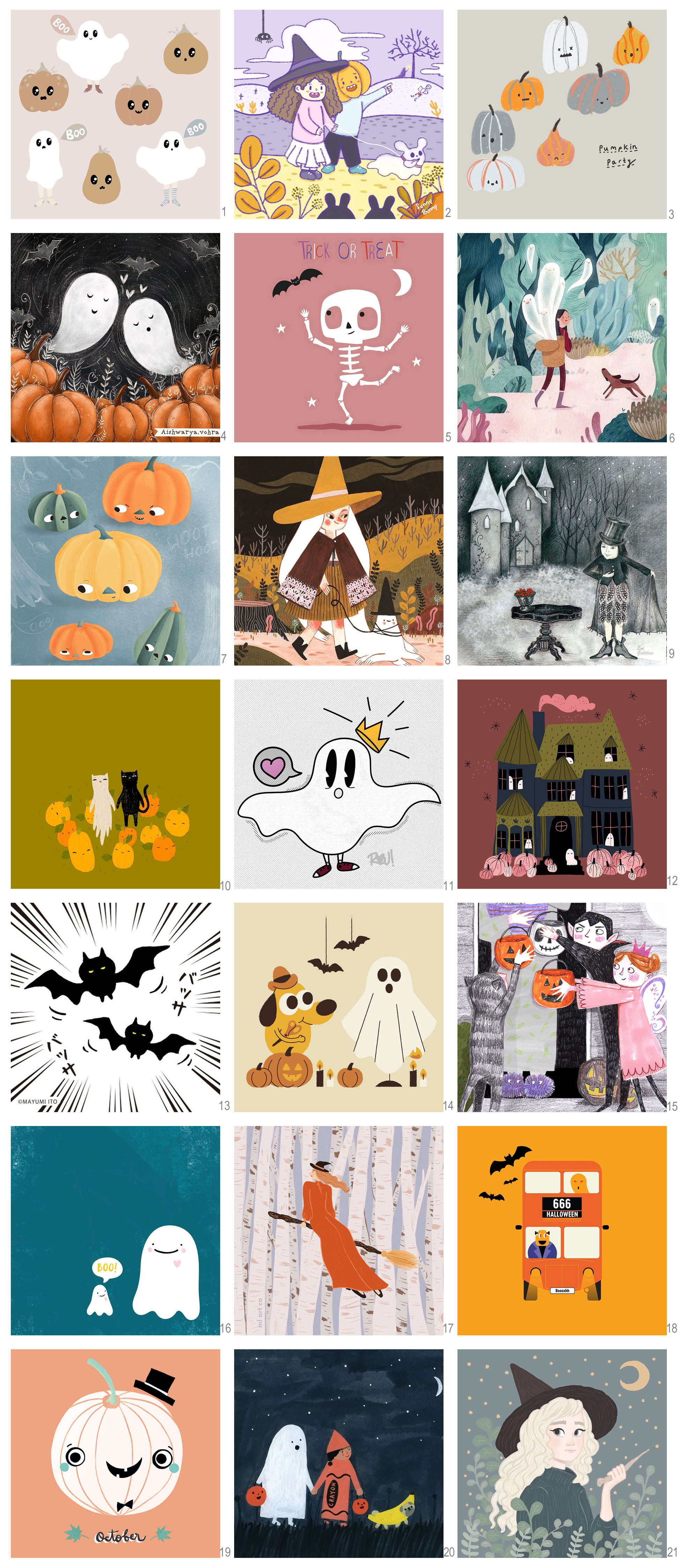 halloween illustrations posters