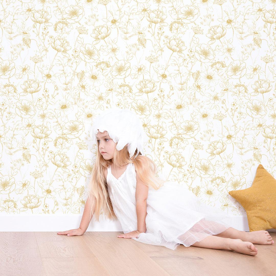 ochre flowers wallpaper