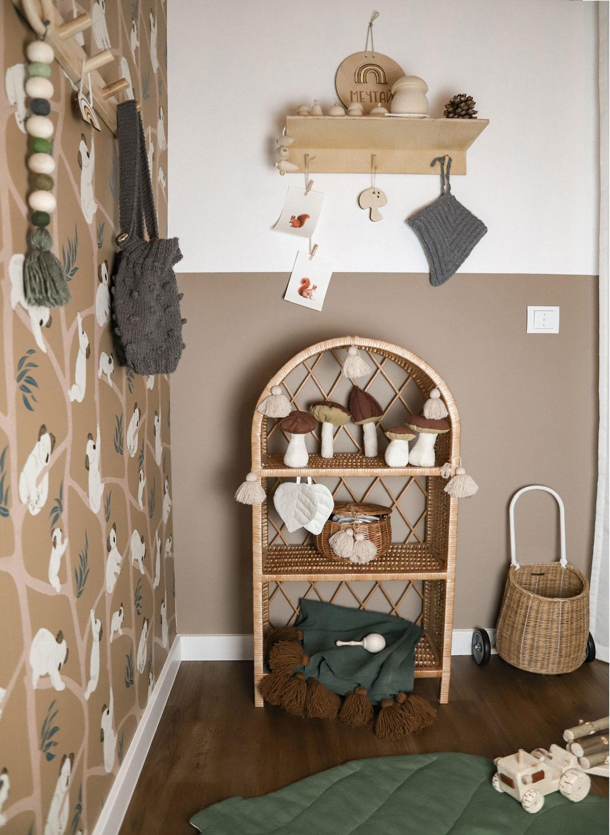rattan kids furniture shelf