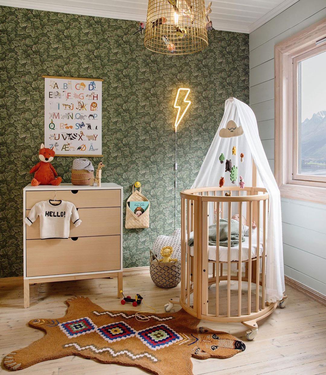 green wallpaper for nursery