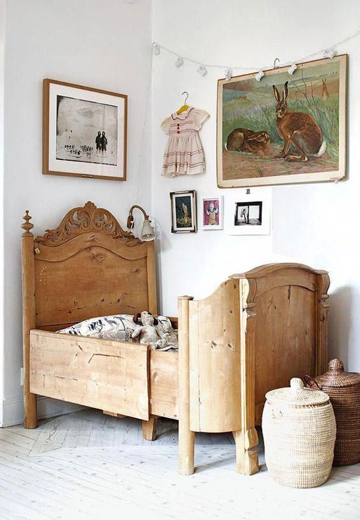 wooden vintage kids bed