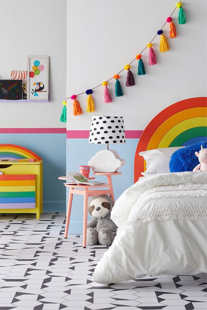 rainbow headboard kids