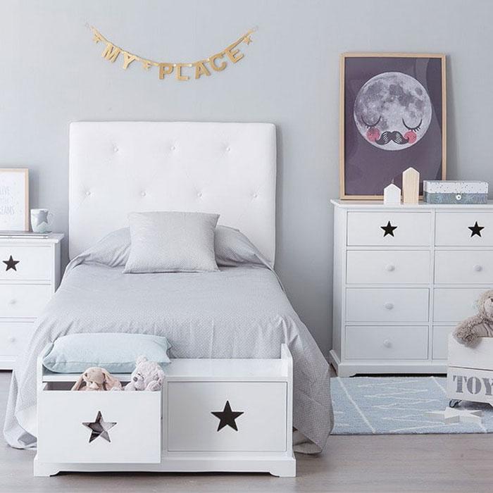 white grey kid's room