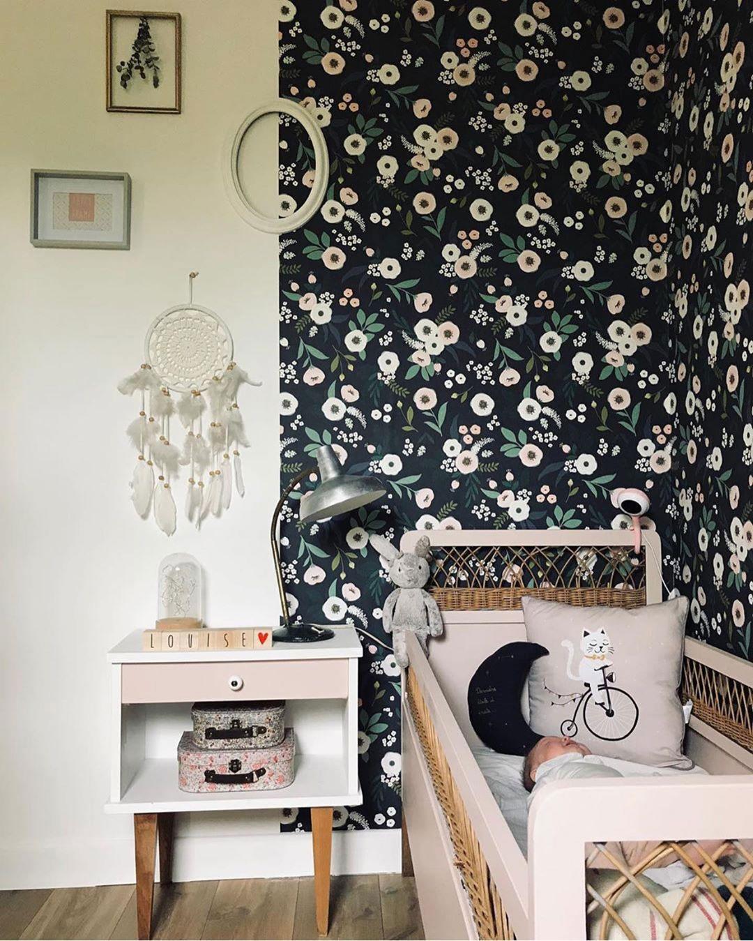 dark flowery wallpaper kid's room