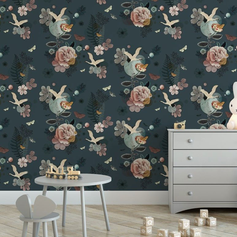 dark floral wallpaper nursery