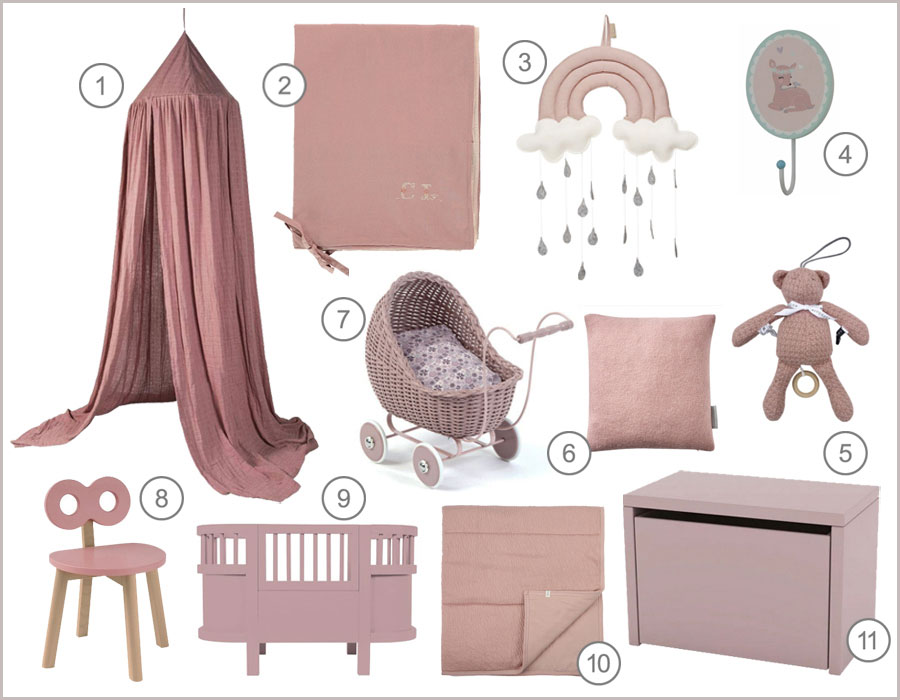 vintage pink kids décor