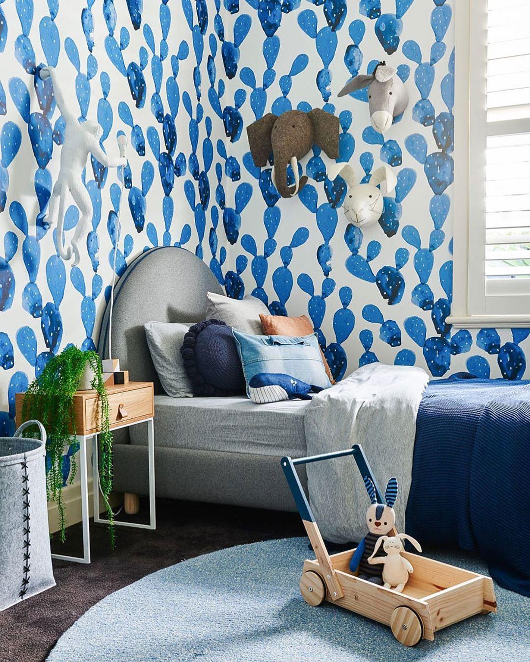 blue cactus wallpaper