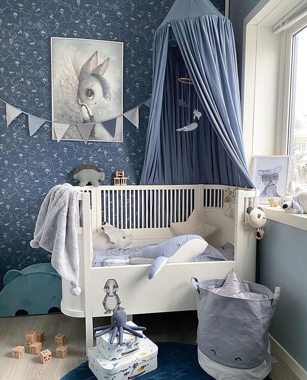 boy nursery in classic blue