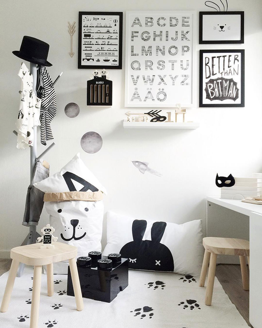white black interiors
