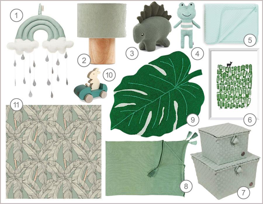 green kids décor