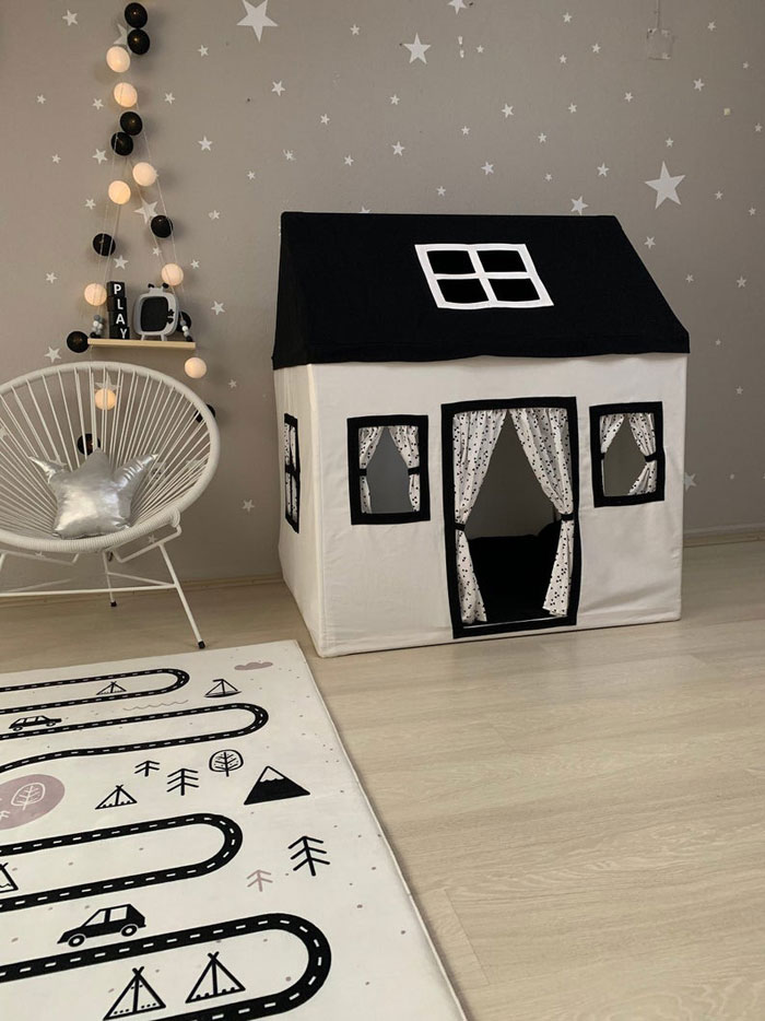 black white textile indoor playhouse